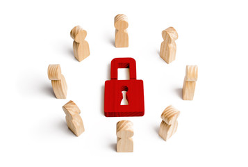 Wooden figures of people surround the padlock. concept of protection of personal data trade secrets, dedication to secrets. Preservation of secrets. Bank secrecy. Protection of information networks.