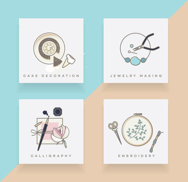 Line art icons set depicting cake decoration, jewelry making, calligraphy and embroidery