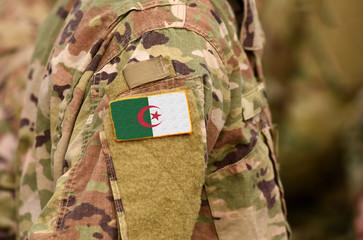 Algeria flag on soldiers arm. People's Democratic Republic of Algeria troops (collage)