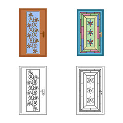 Isolated object of door and front logo. Collection of door and wooden stock vector illustration.