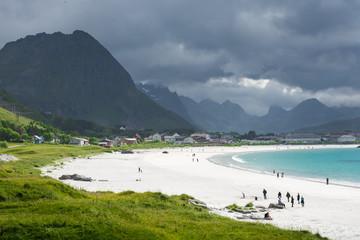 White beach in lofoten islands, Norway