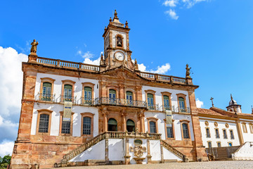 Old 18th century building in colonial architecture in the central square of the city of Ouro Preto in Minas Gerais