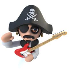3d Funny cartoon pirate captain character playing an electric guitar