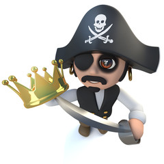 3d Funny cartoon pirate captain character holding a gold crown
