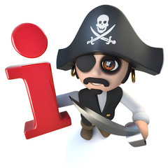 3d Funny cartoon pirate captain character holding an information symbol