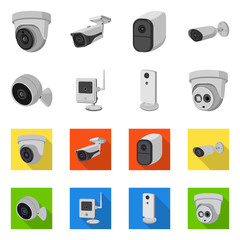 Isolated object of cctv and camera symbol. Set of cctv and system stock symbol for web.
