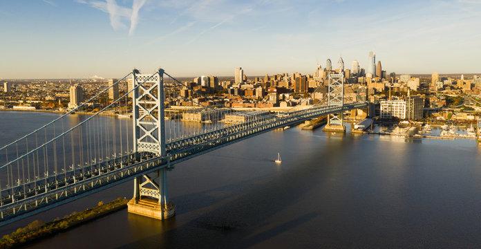Ben Franklin Bridge Delaware River Camden NJ Philadelphia Pennsylvania