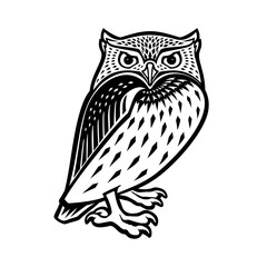 Owl illustration in tribal style. Ethnic patterned illustration for antistress coloring book, tattoo, poster, print, t-shirt.