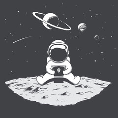 Cute astronaut sits on moon and playing on a smartphone .Space vector illustration