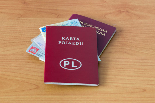 Polish documents passport, ID, driver licence, vehicle registration certificate and vehicle licence.