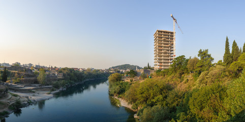 New big building on the Moraca river in the city Podgorica