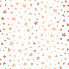 Handdrawn stars rose gold foil vector background. Seamless pattern for Christmas and celebrations. Hand drawn copper stars on white. For gift wrapping paper, greeting cards, wallpaper, poster, banner