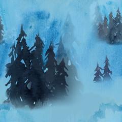 Blue winter seamless pattern in fog forest