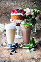 Blueberry latte and hot chocolate with mint