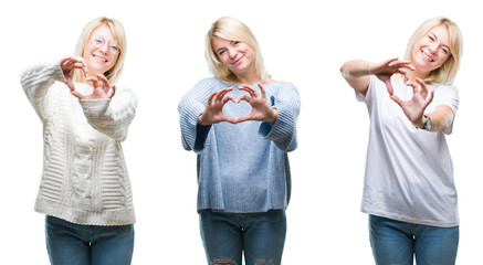 Collage of beautiful blonde woman wearing winter sweater over isolated background smiling in love showing heart symbol and shape with hands. Romantic concept.