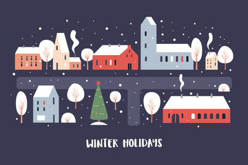 Illustration of snowfall in the winter evening city. Map of the snow-covered city with cozy cute houses, trees and Christmas trees. Happy winter holidays. Vector colorful image.