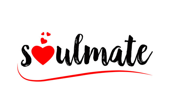 soulmate word text typography design logo icon with red love heart
