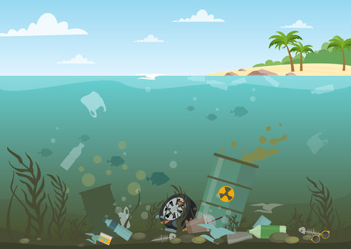 Vector illustration of ocean water full of dangerous waste at the bottom. Eco, water pollution concept. Garbage in the water, flat style.