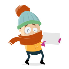 funny cartoon man in winter clothes holding empty sign