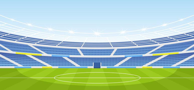 Vector illustration of empty sports stadium with lights in flat cartoon style.