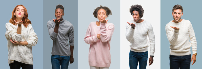 Collage of group of african american and hispanic people wearing winter sweater over vintage background looking at the camera blowing a kiss with hand on air being lovely and sexy. Love expression.