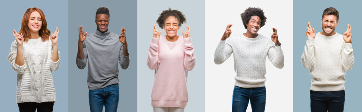 Collage of group of african american and hispanic people wearing winter sweater over vintage background smiling crossing fingers with hope and eyes closed. Luck and superstitious concept.