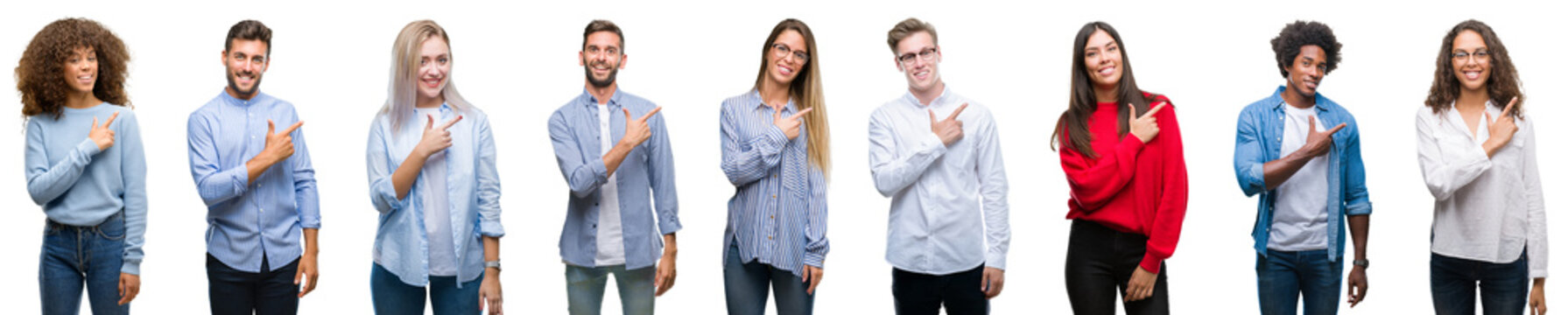 Composition of african american, hispanic and caucasian group of people over isolated white background cheerful with a smile of face pointing with hand and finger up to the side with happy and natural