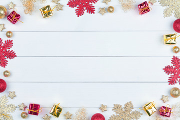 Christmas background with glitter snowflakes and christmas decoration