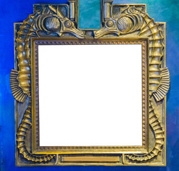 empty golden painting or mirror frame decorated with seahorse animals to put what ever you want on the empty white space