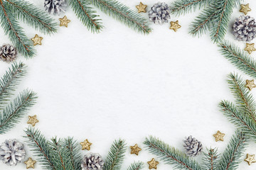 Wall Mural - Snow background with christmas decoration and fir branches