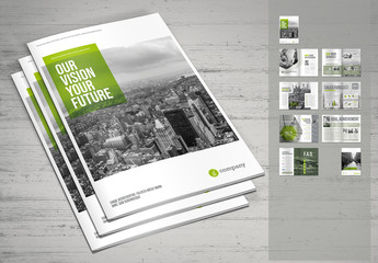 Business Brochure Layout with Green Accents