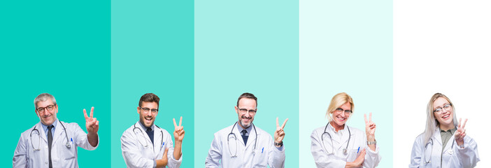 Collage of group of doctor people wearing stethoscope over colorful isolated background smiling with happy face winking at the camera doing victory sign. Number two.