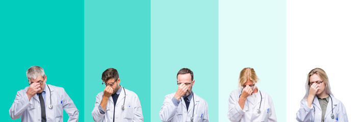 Collage of group of doctor people wearing stethoscope over colorful isolated background tired rubbing nose and eyes feeling fatigue and headache. Stress and frustration concept.