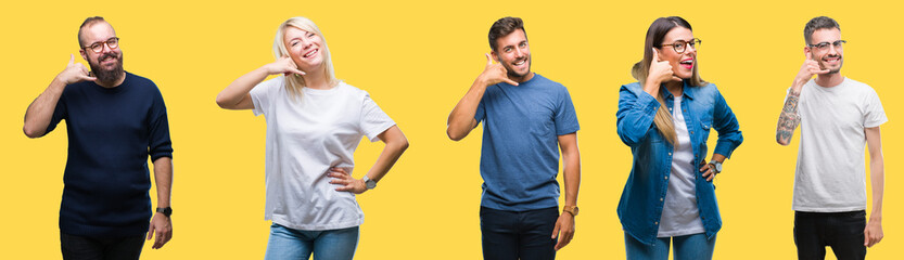 Collage of group people, women and men over colorful yellow isolated background smiling doing phone gesture with hand and fingers like talking on the telephone. Communicating concepts.