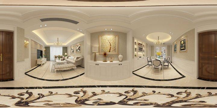 360 degrees house interior. Living Room. 3D Render.