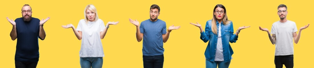 Collage of group people, women and men over colorful yellow isolated background clueless and confused expression with arms and hands raised. Doubt concept.