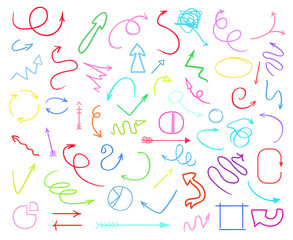 Infographic elements isolated on white. Set of different indicator signs. Tangled hand drawn simple objects. Line art. Abstract circles, arrows and rectangles. Symbols for work
