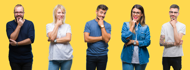 Collage of group people, women and men over colorful yellow isolated background looking confident at the camera with smile with crossed arms and hand raised on chin. Thinking positive.