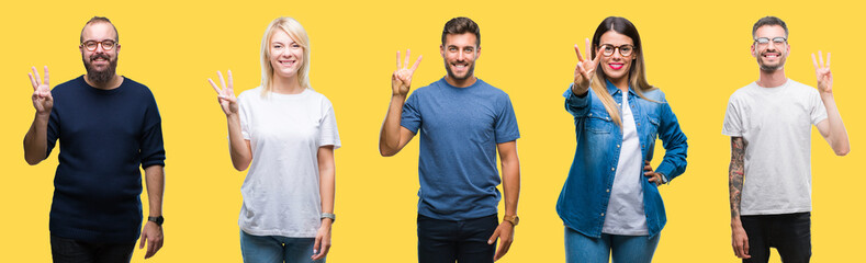 Collage of group people, women and men over colorful yellow isolated background showing and pointing up with fingers number three while smiling confident and happy. Wall mural