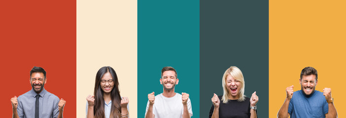 Collage of different ethnics young people over colorful stripes isolated background excited for...
