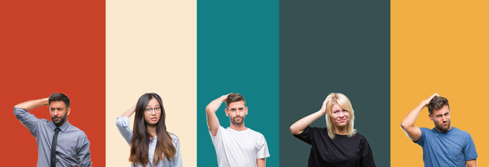 Collage of different ethnics young people over colorful stripes isolated background confuse and wonder about question. Uncertain with doubt, thinking with hand on head. Pensive concept. Wall mural