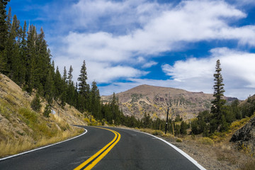 Driving through the Sierra mountains on a sunny day, California
