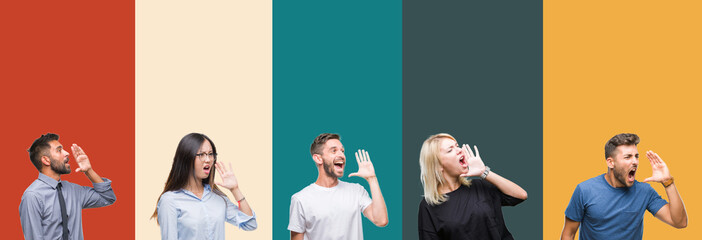 Collage of different ethnics young people over colorful stripes isolated background shouting and screaming loud to side with hand on mouth. Communication concept.