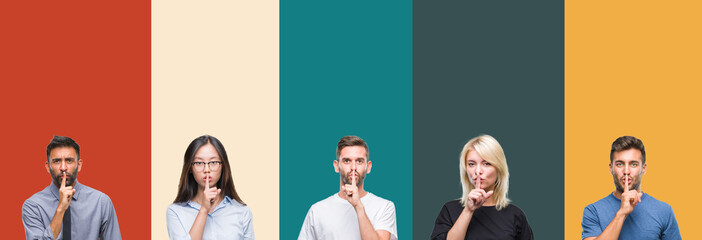 Collage of different ethnics young people over colorful stripes isolated background asking to be quiet with finger on lips. Silence and secret concept.