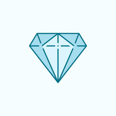 diamond 2 colored line icon. Simple colored element illustration. diamond outline symbol design from web icons set