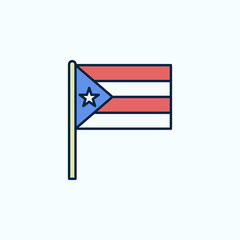 Puerto Rico flag 2 colored line icon. Simple colored element illustration. Puerto Rico outline symbol design from flags set