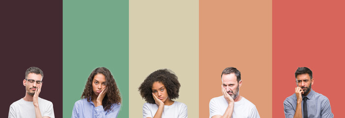 Collage of group of young and senior people over colorful isolated background thinking looking tired and bored with depression problems with crossed arms.