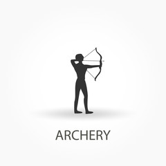 Archer and archery icon. Vector.
