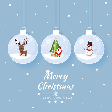 Merry christmas glass ball with element collection banner. reindeer, santa, snowman at snow. Vector illustration