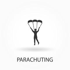 Skydiver icon. parachuting icon